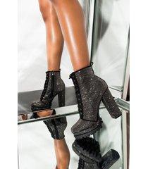 akira fake love rhinestone chunky heel platform bootie