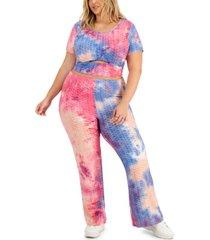 full circle trends trendy plus size 2-pc. cutout t-shirt & pants set