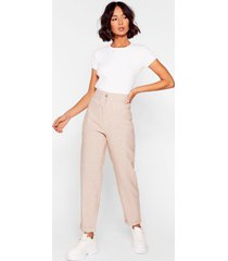 womens check me out high-waisted tapered pants - beige