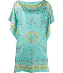 emilio pucci shell-print silk beach dress - blue