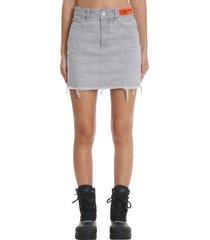 heron preston denim skirt cut skirt in grey denim