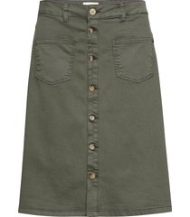 pzditte skirt knälång kjol grön pulz jeans