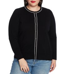 plus size women's court & rowe fine gauge tipped cardigan, size 3x - black