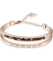 guess rose gold-tone crystal, imitation pearl & tortoise-look double-row bangle bracelet