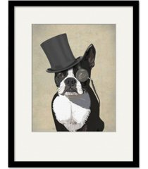 "courtside market boston terrier, formal hound and hat 20"" x 24"" framed and matted art"