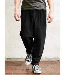 hombres casual suelto jogging pana pantalones media cintura casual pantalones