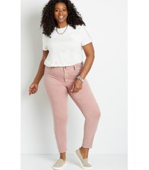 maurices plus size womens high rise pink double button jegging made with repreve