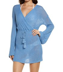 women's l space topanga long sleeve cover-up sweater dress, size x-large - blue