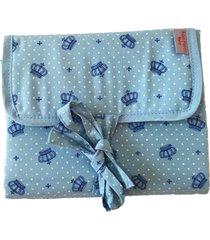 trocador portátil, multimarcas sem bordado, tricoline 100% algodão - coroa azul claro