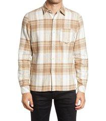 men's john elliott sly regular fit plaid flannel button-up shirt, size large - beige