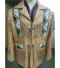 men,s cream color western cowboy leather jacket coat with fringe and beads