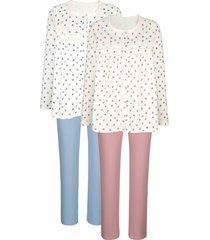 pyjama's per 2 stuks harmony ecru::oudroze::lichtblauw