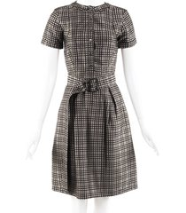 burberry checked belted dress multicolor sz: s
