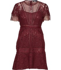 chante lace short sleeve dress korte jurk rood french connection