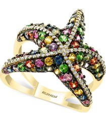 effy multi-sapphire (2-1/2 ct. t.w.) & diamond (1/4 ct. t.w.) starfish ring in 14k gold