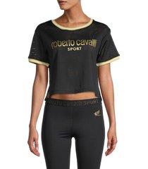 roberto cavalli sport women's mesh crop top - black - size m