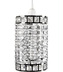 tadpoles faux-crystal and chrome cylinder shape pendant
