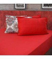 conjunto de lenã§ol king pertutty 100 porcento algodã£o fios nobre - vermelho - dafiti