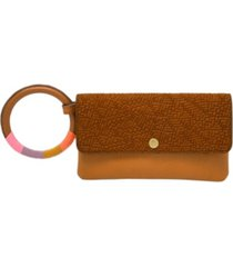 fossil women's flap wristlet vintage-like saddle woven embossed with wrapped bangle
