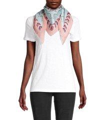 missoni women's printed silk triangle scarf - pink green