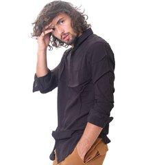 camisa negra desigual milano