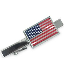 american flag silvertone & mother-of-pearl tie bar