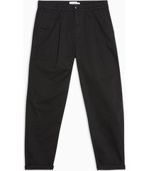 mens black pleated tapered pants