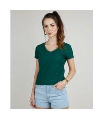 camiseta flamê de algodão básica manga curta decote v verde escuro
