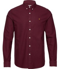 brewer slim ls bd overhemd business rood farah