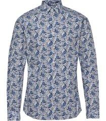 blue paisley poplin shirt skjorta business blå eton