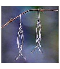 sterling silver dangle earrings, 'winter twigs' (indonesia)
