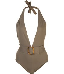 eres affairs belted swimsuit - brown