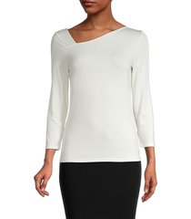 donna karan new york women's asymmetrical-neckline top - dark cream - size xs