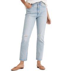women's madewell the ripped high waist crop slim boyfriend jeans, size 33 - blue