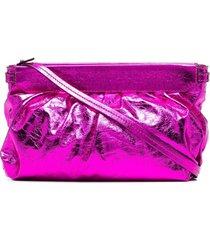isabel marant metallic crinkle-effect clutch - pink