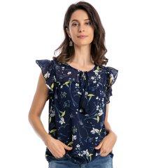 blusa floral lazo azul nicopoly