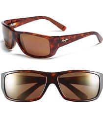 men's maui jim 'wassup - polarizedplus2' 61mm polarized sunglasses - tortoise/ hcl bronze