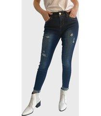 jeans wados pitillo un botón reciclado azul  - calce regular