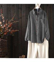 zanzea más el tamaño de las mujeres camisa de manga larga casual tops de la solapa de la raya de gran tamaño de tapas de la blusa -negro