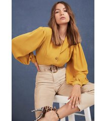 womens let's get button-down to business blouse - mustard