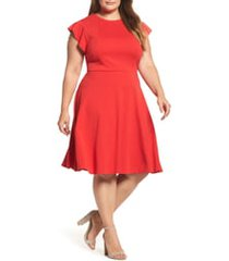 plus size women's city chic frill sleeve fit & flare dress, size large - red