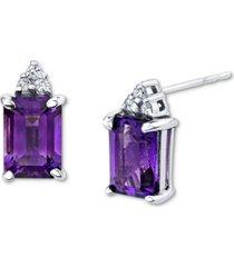 amethyst (2 ct. t.w.) & diamond (1/20 ct. t.w.) stud earrings in 14k white gold