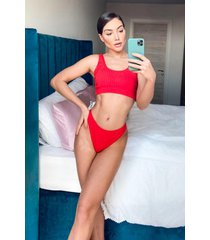 ribbed crop racer bikini, red