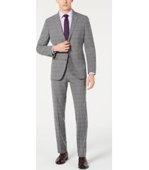 kenneth cole reaction men's slim-fit ready flex stretch light gray windowpane suit