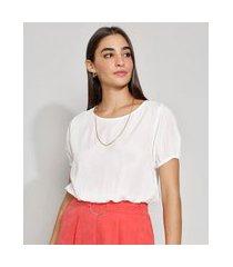 blusa feminina manga bufante blusê decote redondo off white