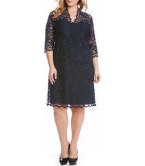 plus size women's karen kane scalloped stretch lace dress, size 2x - blue