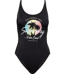ombre scoop swimsuit baddräkt badkläder svart superdry