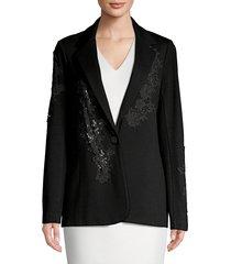 bailey 44 women's floral applique ponte blazer - black - size xs