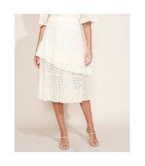 saia de laise feminina midi em camadas com babado e fenda off white