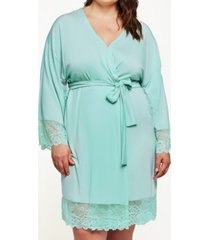 icollection women's cotton blend- ultra soft lace robe